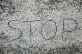 Interrompere l'iscrizione sulla sabbia — Foto Stock
