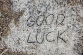 Good luck inscription  on sand — Foto Stock