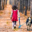 Little girl with dog walking on the road. Back to camera. — Stock Photo #38731289