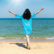 Young happy woman stretches out his hands to the sky with sun back to camera — Stock Photo #38836637