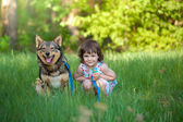 Happy little girl with dog sitting on the grass — Stock fotografie