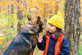 Little girl with big dog looking at each other — Stok fotoğraf