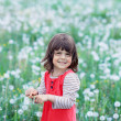 Little happy girl on the flower field — Stock Photo