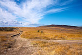 Beautiful sky above dirt road in the field — Stock Photo