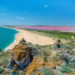 View from the mountains to the sea coast and mud pink lake — Stock Photo #40214813
