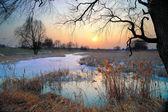 Sunset over frozen brook — Stock Photo