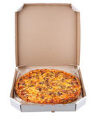 Pizza in a box isolated on white background — Stock Photo