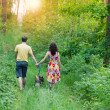 Couple holding hands and dog — Stock Photo #41124373