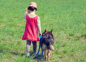 Girl with dog meadow — Stock Photo