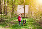 Girl with dog in the forest — Stock Photo