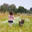 Little girl with dog — Stock Photo #41780861
