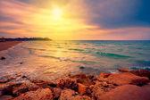 Tel aviv - Yafa, İsrail deniz üzerinde güzel gün batımı — Stok fotoğraf