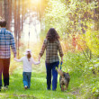 Family with dog walking — Stock Photo #46765419