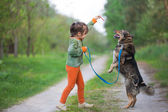 Little girl schooling dog in the forest — Stock Photo