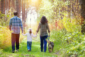Family with dog walking — Stock Photo