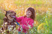 Little girl with big dog  in the forest — Stock Photo