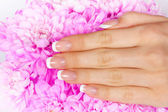 Woman's hand with french manicure — Stock Photo