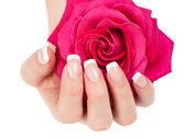 Woman's hand with  french manicure — Stockfoto