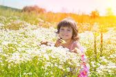 Little girl in flower meadow — Stock Photo