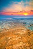 Beautiful sunrise over Masada fortress — Stock Photo