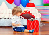 Boy opening present — Foto Stock
