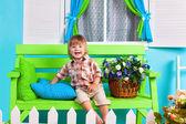 Little boy on bench — Foto de Stock