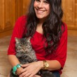 Pretty Girl with Cat — Stock Photo