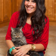 Stock Photo: Pretty Girl with Cat