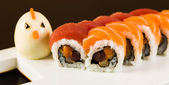 Tuna and Salmon Roll — Stock Photo