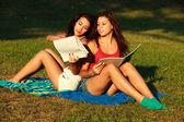 Beautiful college girls — Stock Photo