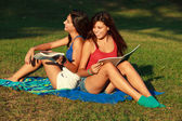 Beautiful college girls — Stock Photo