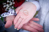 Wedding rings fall on hand — Stock Photo