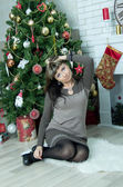 Beautiful girl celebrates Christmas — Foto de Stock