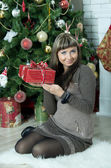 Beautiful girl celebrates Christmas — Stock Photo