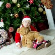 Child celebrates Christmas — Stok fotoğraf