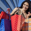 She has a lot of shopping — Stock Photo