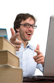 Happy man is rejoice in front laptop — Stock Photo