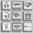 Set valentine's day icons, love romantic signs — Stock Vector