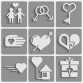 Set valentine's day icons, love romantic signs — ストックベクタ