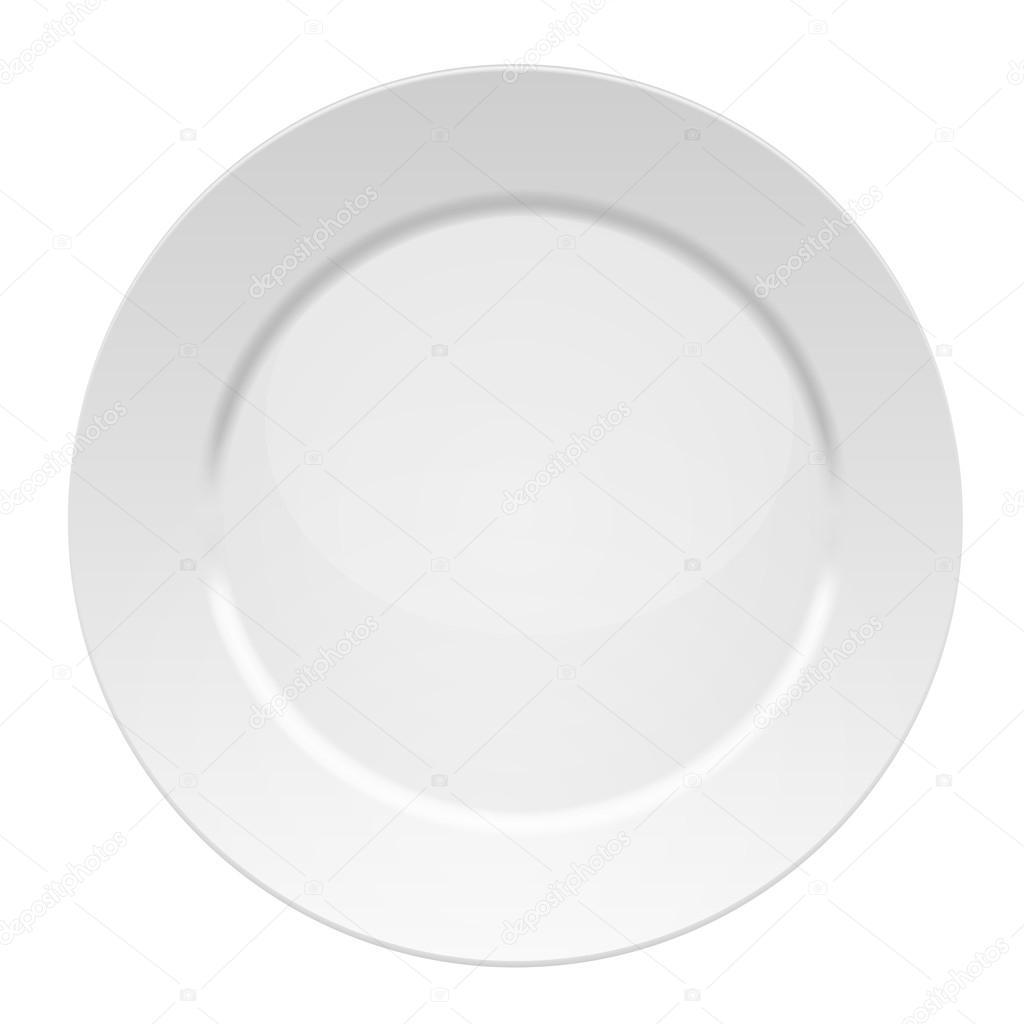 Ilustraci n vectorial de plato blanco en blanco vector for Plato blanco