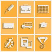 Vector school theme icons set — Stock Vector