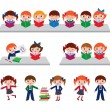 Children in the school library — Stock Vector #38748589