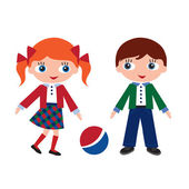 Girl and boy in school at recess — Stock Vector