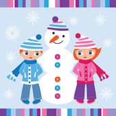 Children and snowman — Stock Vector