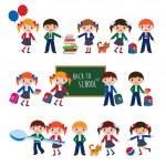 Schoolchildren with schoolbags. — Stock Vector #48428855