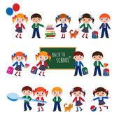 Schoolchildren with schoolbags. — Vector de stock