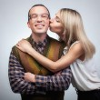 Happy nerd with girl — Stock Photo