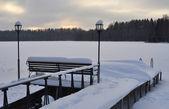 Winter evening on lake — Стоковое фото