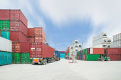 Shipping containers at the docks — Stock Photo
