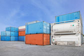 Stack of Cargo Containers and liquid  tank at the docks — Stock Photo